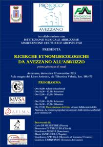 Ricerche etnomusicologiche da Avezzano all'Abruzzo