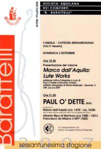 Presentazione del volume Marco dall'Aquila: Lute Works (anteprima)